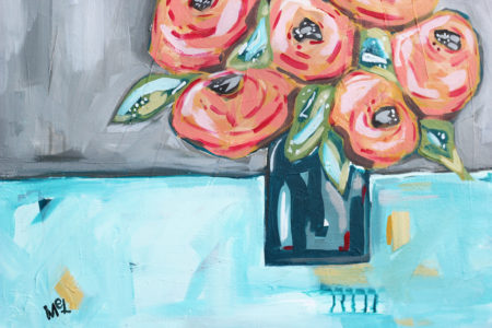 """Saturday Afternoon In The Park""""Three Strong Roots Farmhouse"" Acrylic Modern Abstract Boho Turquoise Flower Painting"