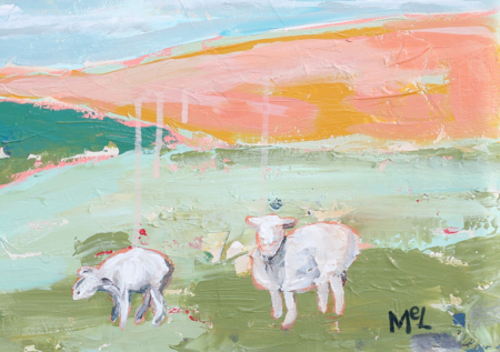 """I'll Know My Name When It's Called Again"" Acrylic Modern Abstract Landscape Sheep Painting"