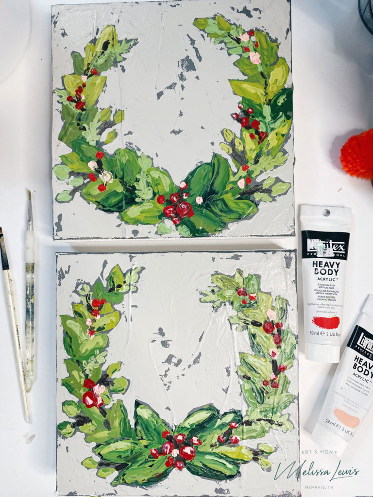 How To Paint A Christmas Wreath by artist Melissa Lewis