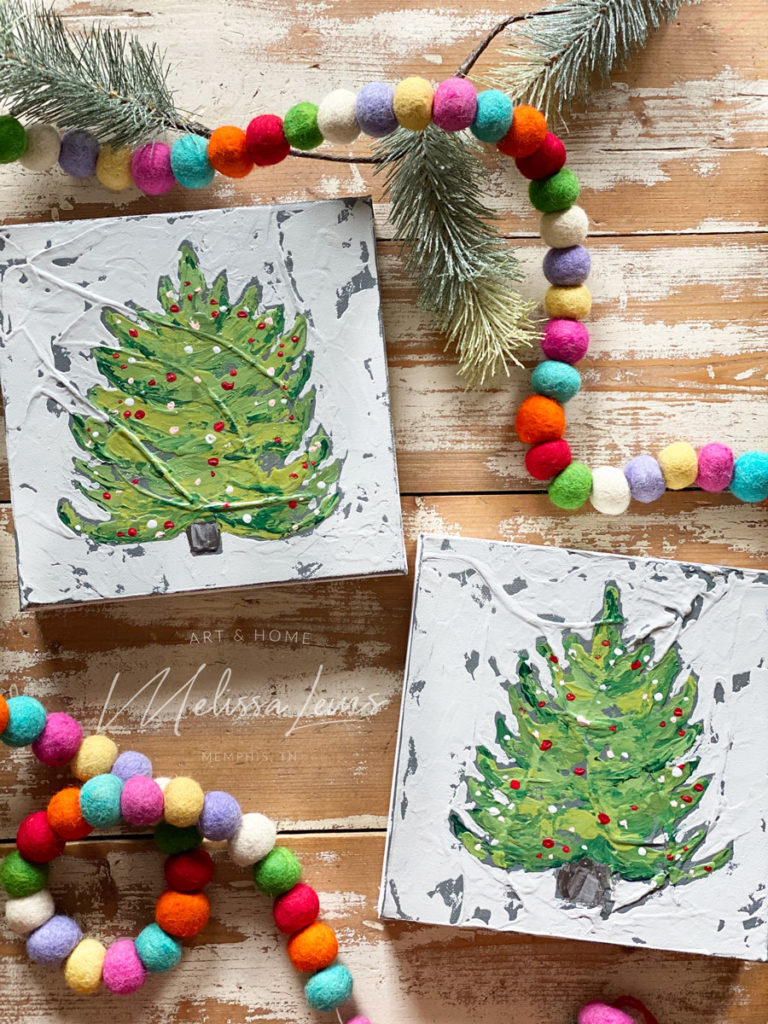 How To Paint A Christmas Tree On Canvas Tutorial by artist Melissa Lewis