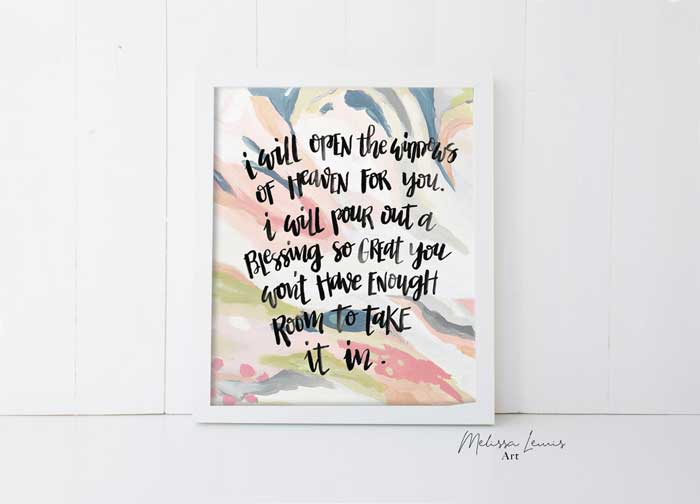 8x10 Handlettered Scripture Abstract Art Print and Download by Melissa Lewis
