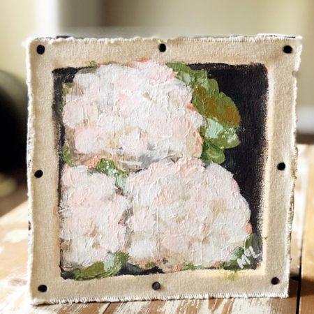Modern Acrylic Flower Hydrangeas on Stretch Canvas and Custom Frame