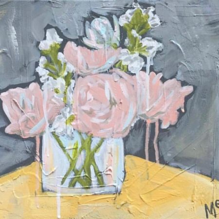 Modern Abstract Flower Art Pink Peonies